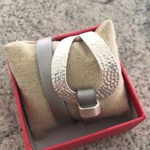 NWB Saachi Leather Silver-tone Wrap Bracelet